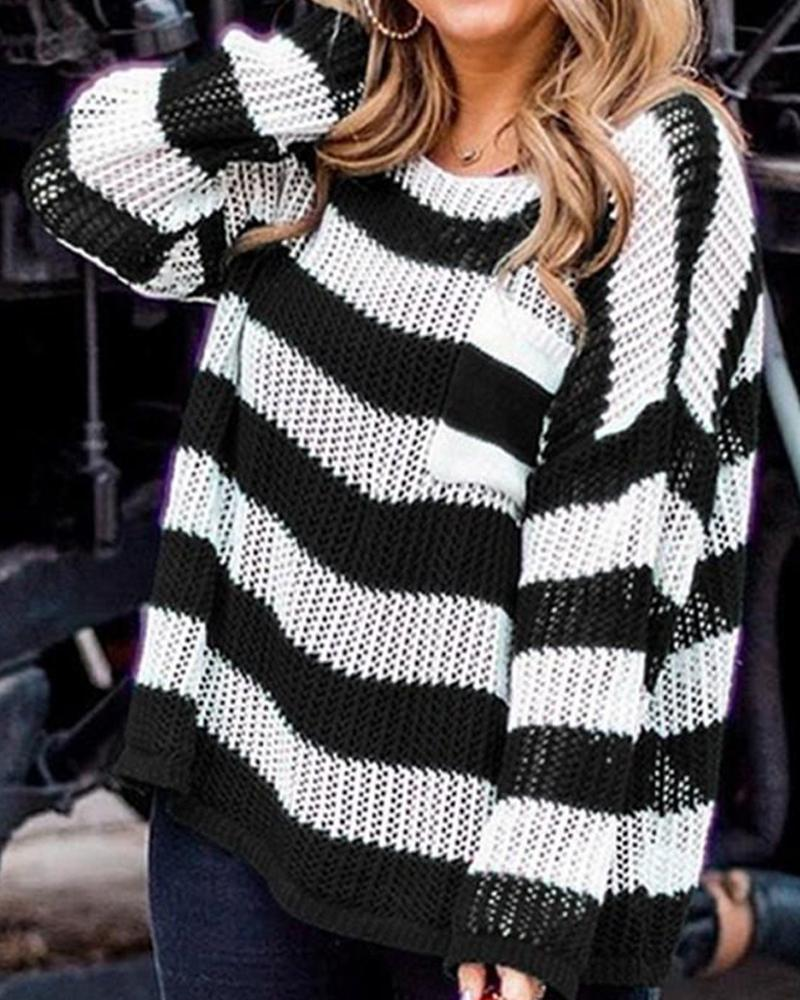 Loose-Knit Striped Casual Sweater