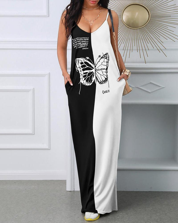 Butterfly Letter Print Colorblock Maxi Dress