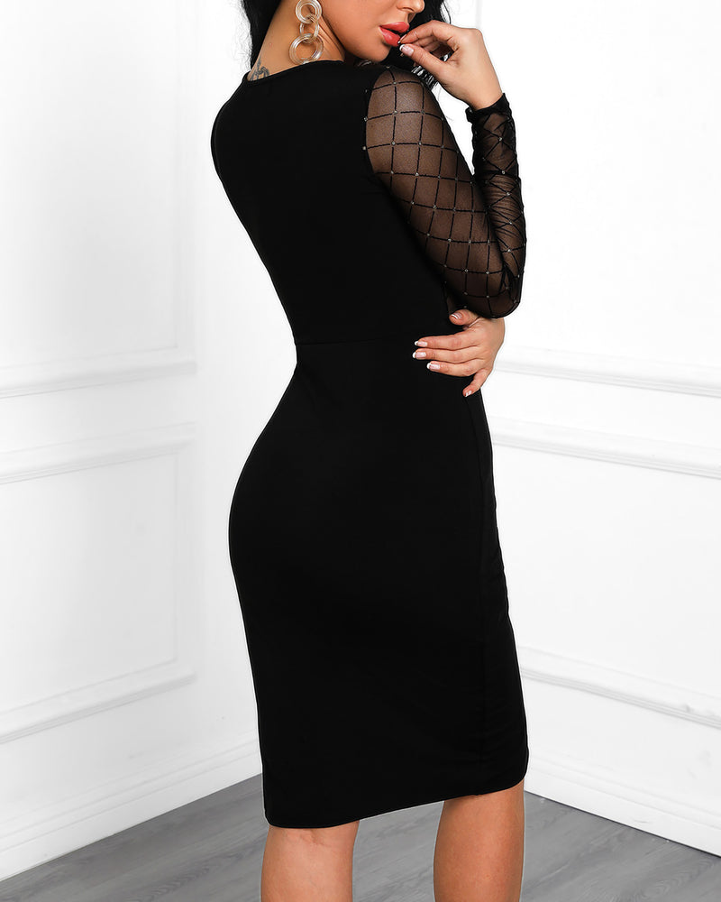 One Shoulder Grid Mesh Insert Slit Bodycon Dress
