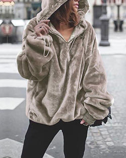 Solid Hooded Drawstring Fluffy Sweatshirt