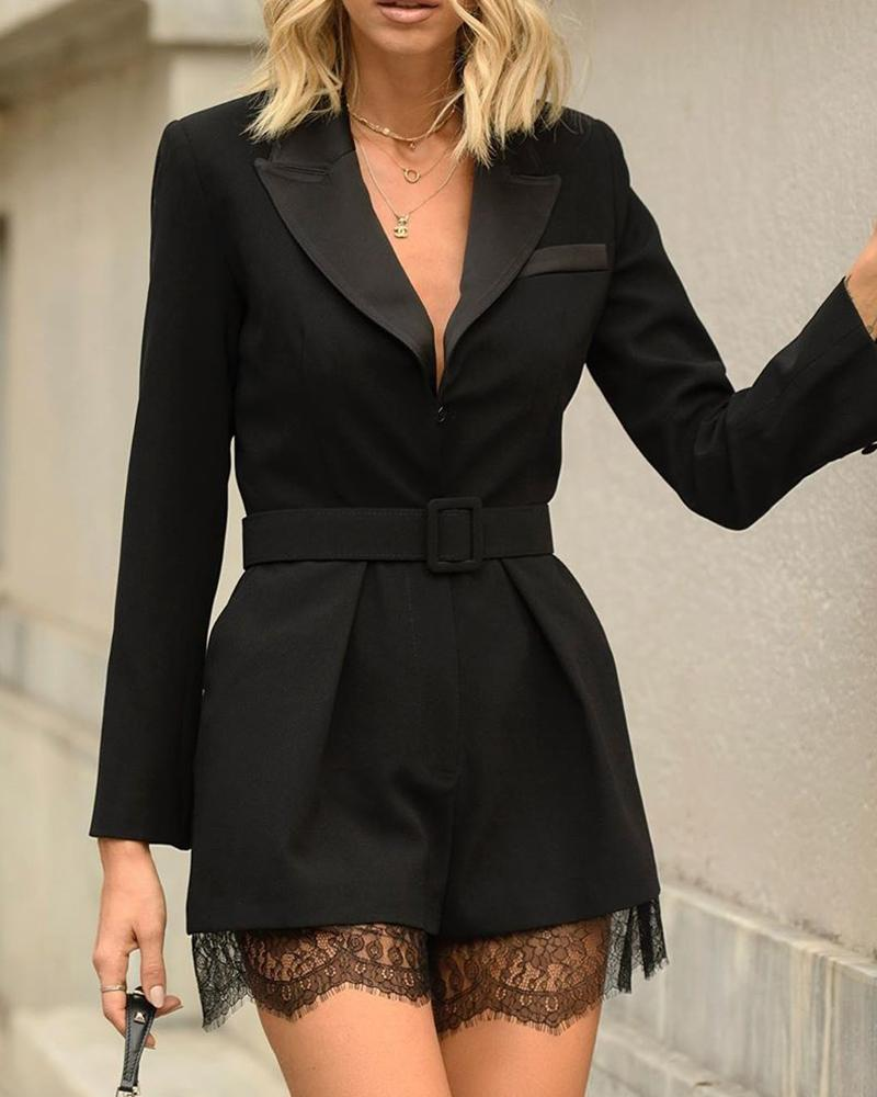 Notched Collar Long Sleeve Lace Insert Romper