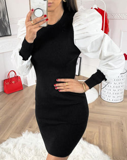 Puffed Sleeve Ribbed Sweater Dress