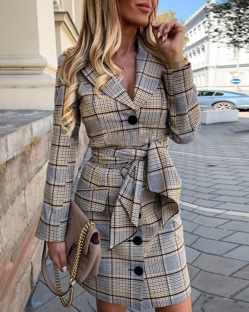 Grid Single Breasted Blazer Dress