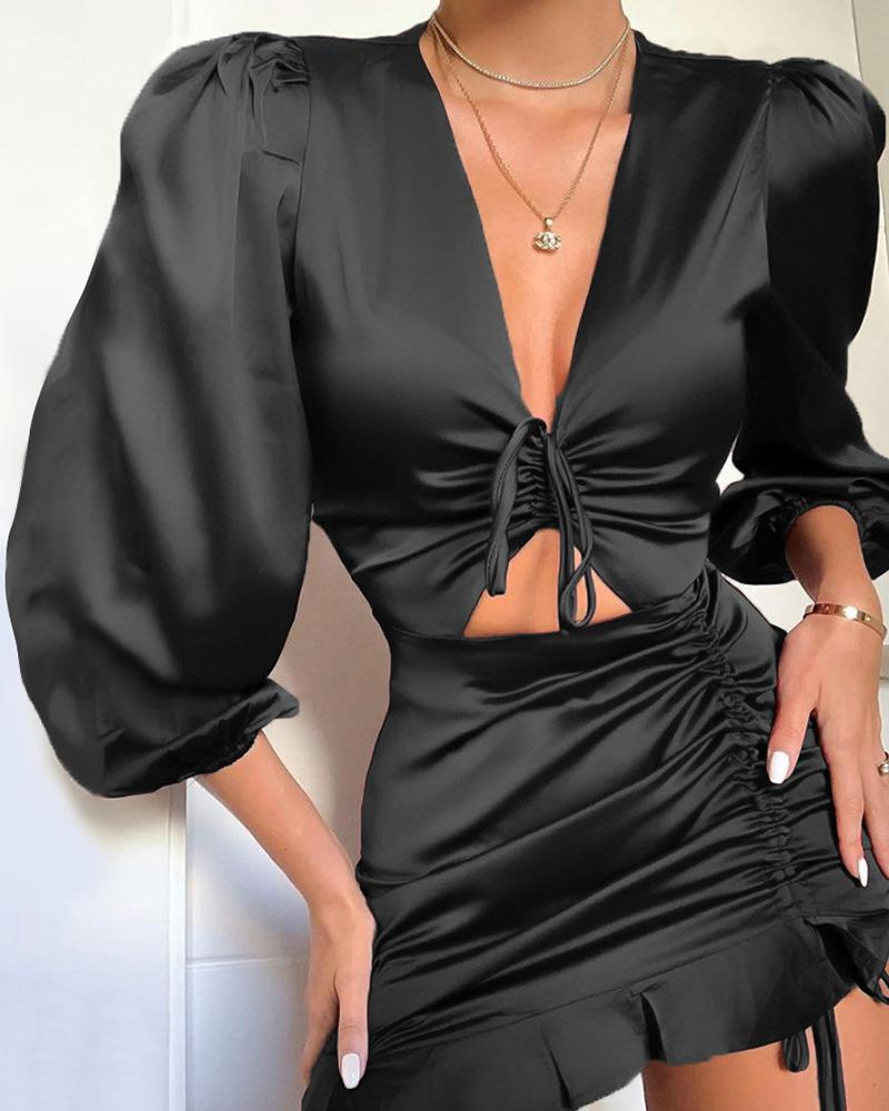 Solid V-Neck Puff Sleeve Twisted Cut Out Ruffles Bodycon Dress
