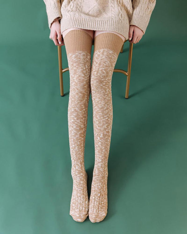 Colorblock Over The Knee Socks