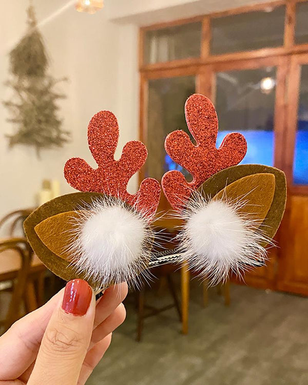 Christmas Moose Deocr Pom Pom Hair Clip