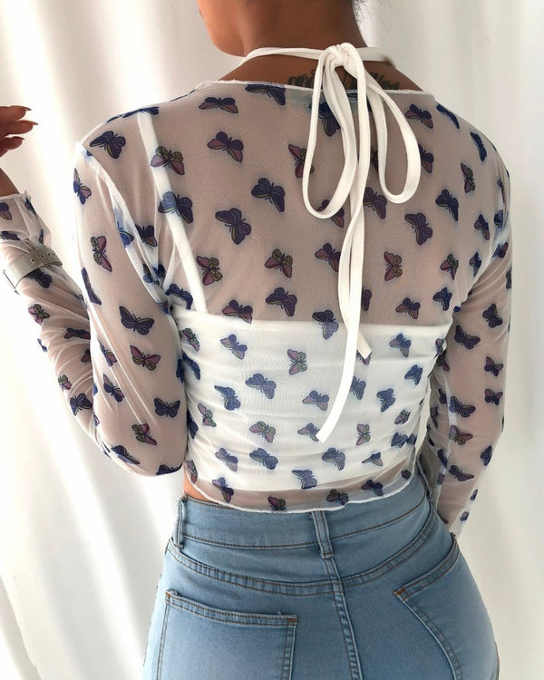 Spaghetti Strap Plain Crop Top & Butterfly Print Blouse