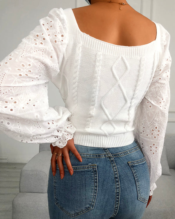 Eyelet Embroidery Lantern Sleeve Crop Sweater