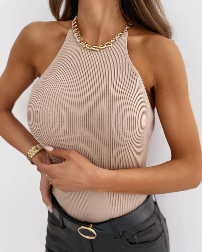 Chain Design Halter Plain Top