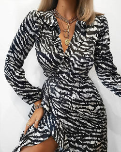 V Neck Zebra Print Mini Dress