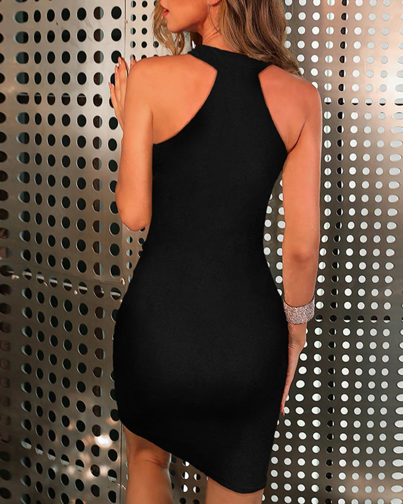 Tassel Studded Sleeveless Bodycon Dress