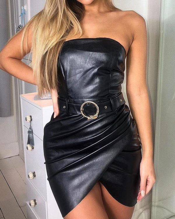 Ruched Overlap Belted Tube PU Dress