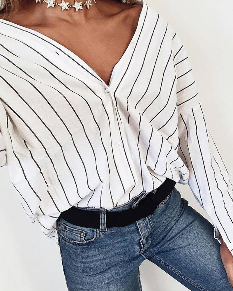 Striped Oversized Button-Down Shirt
