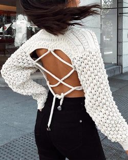 Round Neck Backless Lace-up Knitting Crop Sweater