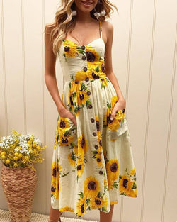 Sunflower Print Spaghetti Strap Casual Dress
