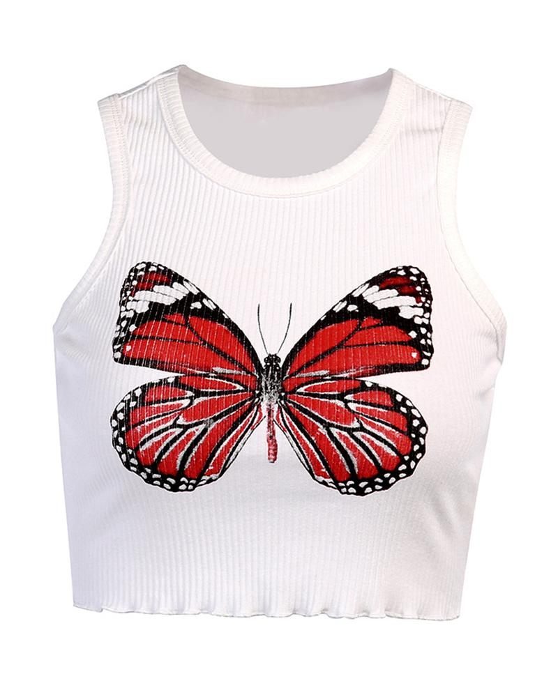 Butterfly Print Sleeveless Ribbed Top
