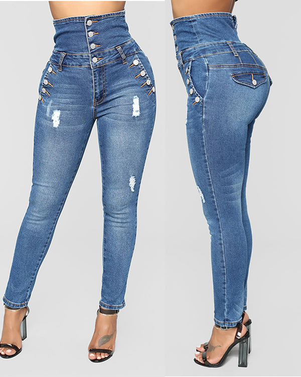 Ripped Button Design High Waist Denim Pants