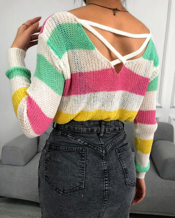 Colorblock Twisted Long Sleeve Casual Sweater