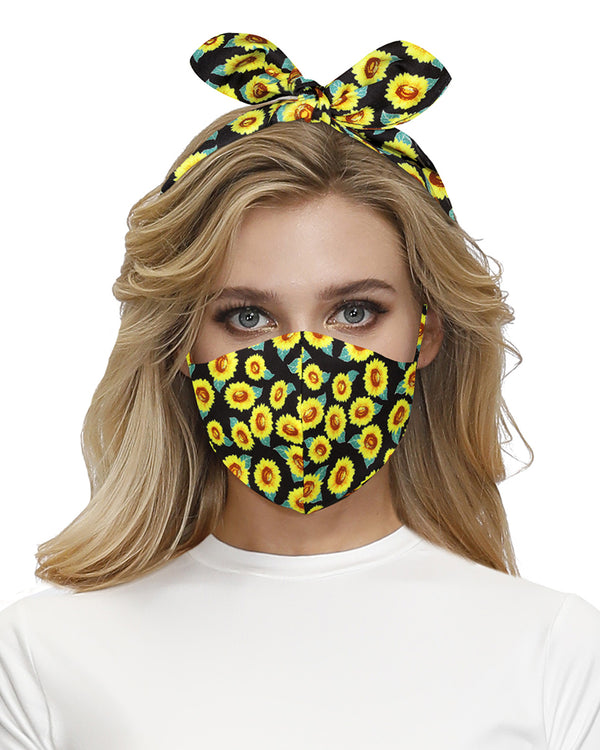 Sunflower Print Hairband Breathable Face Mask