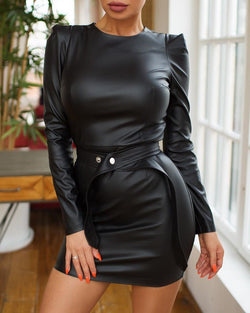 Solid Round Neck Puff Sleeve PU Bodycon Dress