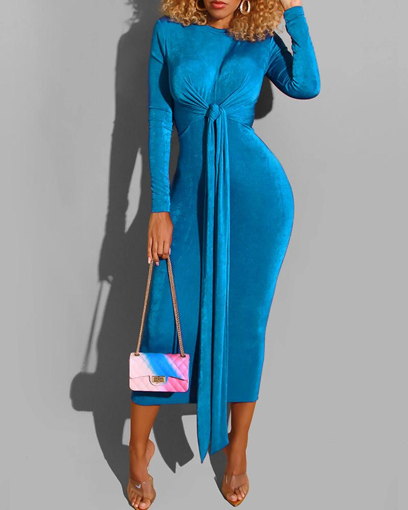 Solid Long Sleeve Knotted Bodycon Dress
