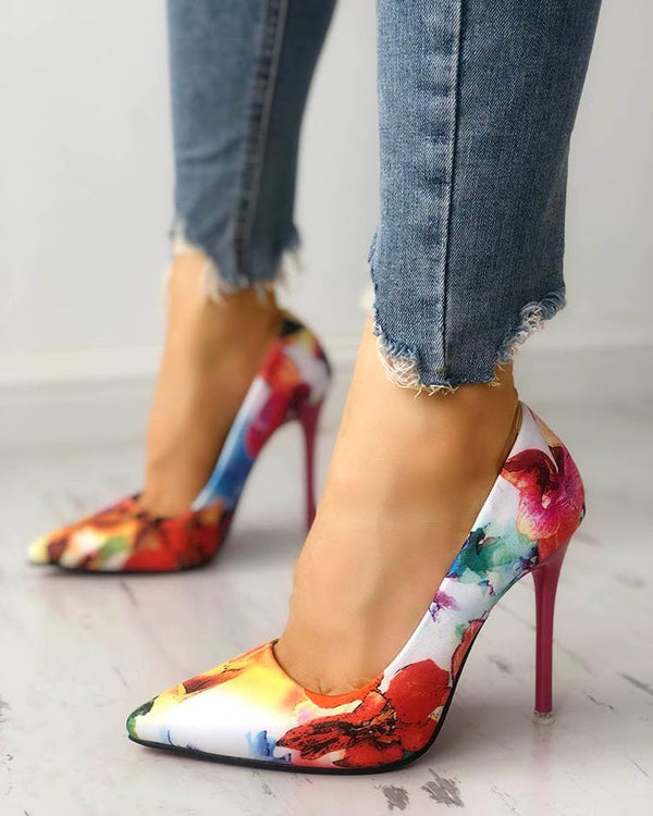 Floral Print Pointed Toe High heels