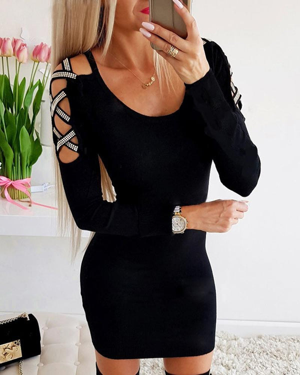 Hot Stamping Hollow Out Detail Bodycon Dress