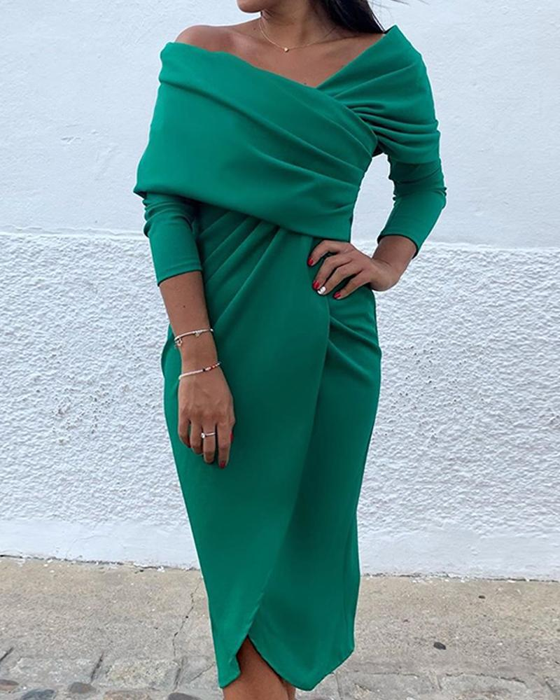 Green Long Sleeve Wrap Dress