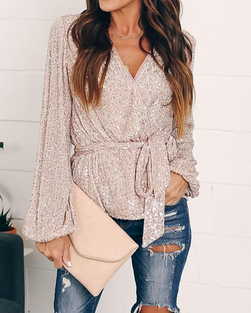 Sequined Tie Waist Wrap Top