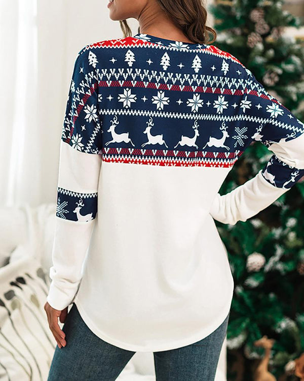 Christmas Print Long Sleeve Casual Top