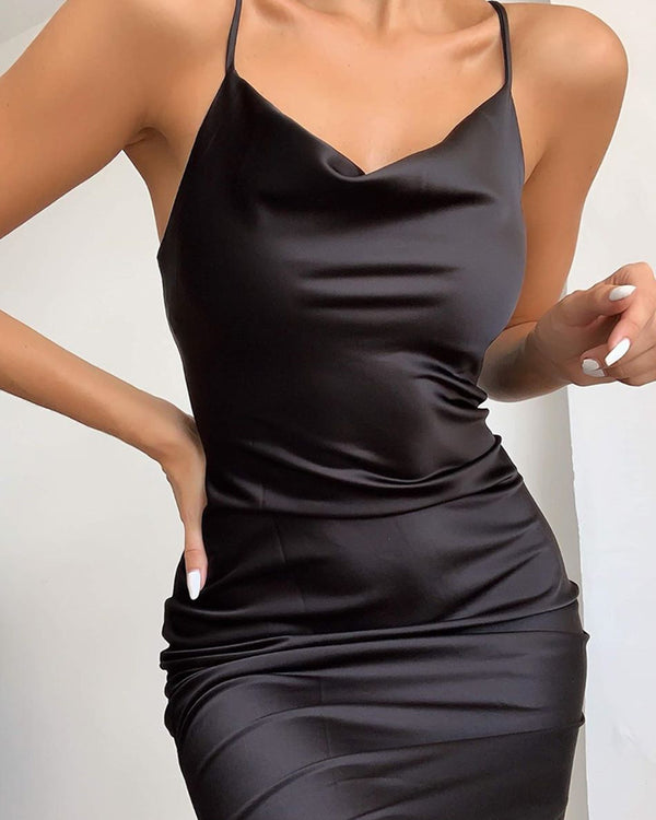 Plunge Neck Satin Mini Dress