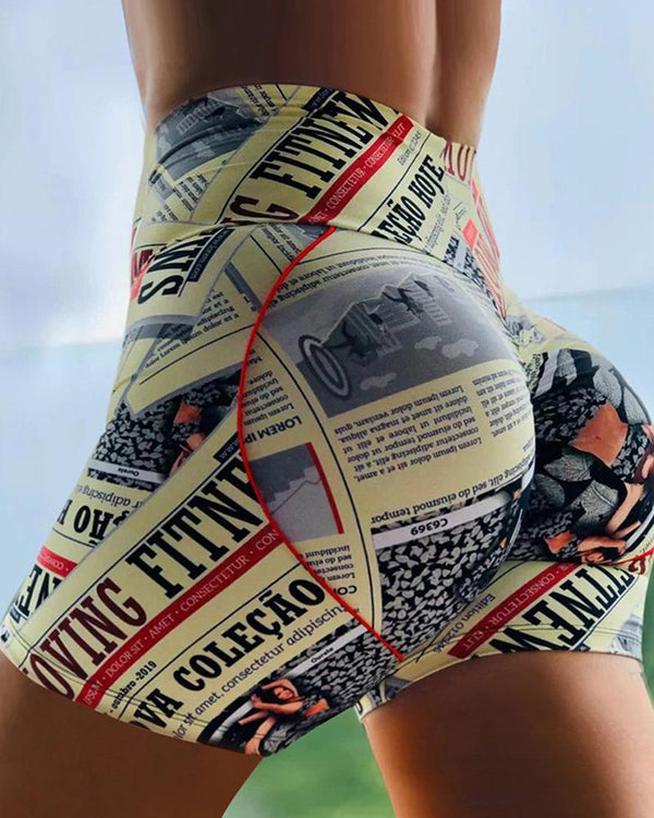 High Waist Paperwork Print Ruched Sporty Shorts
