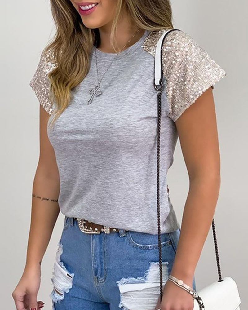 Sequins Short Sleeve Casual T-shirt