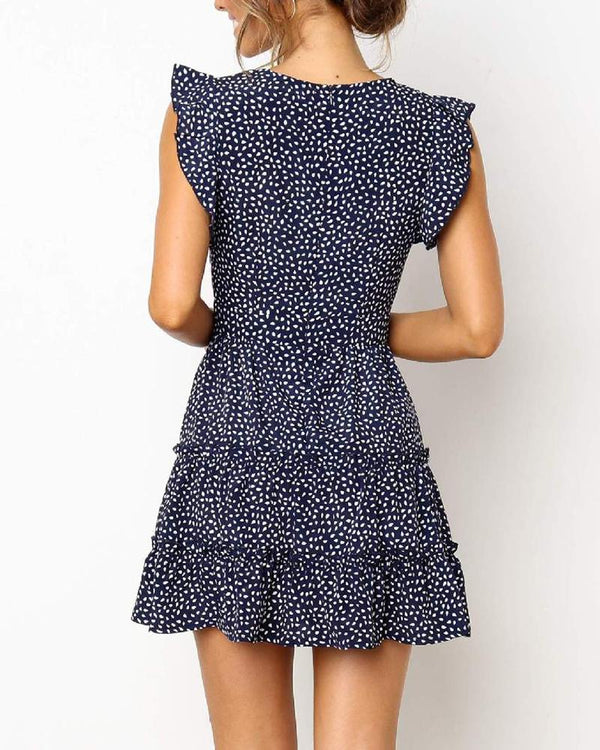 Floral Dot V-Neck Ruffle Dress