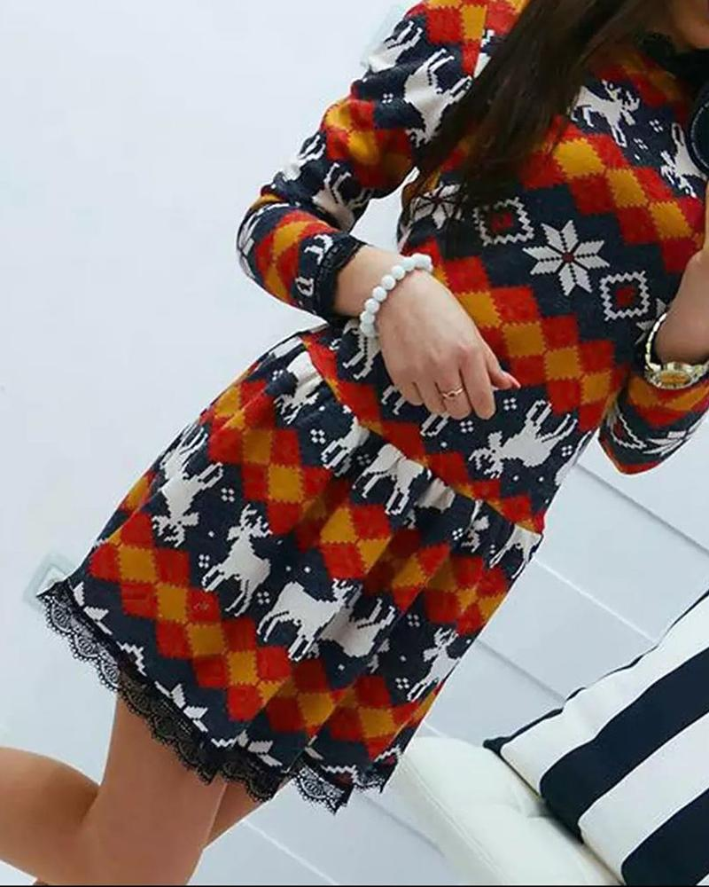 Christmas Print Lace Trim Long Sleeve Dress