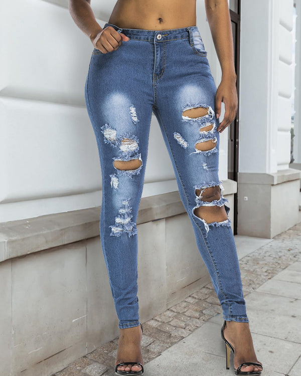 Cutout Ripped Casual Jeans
