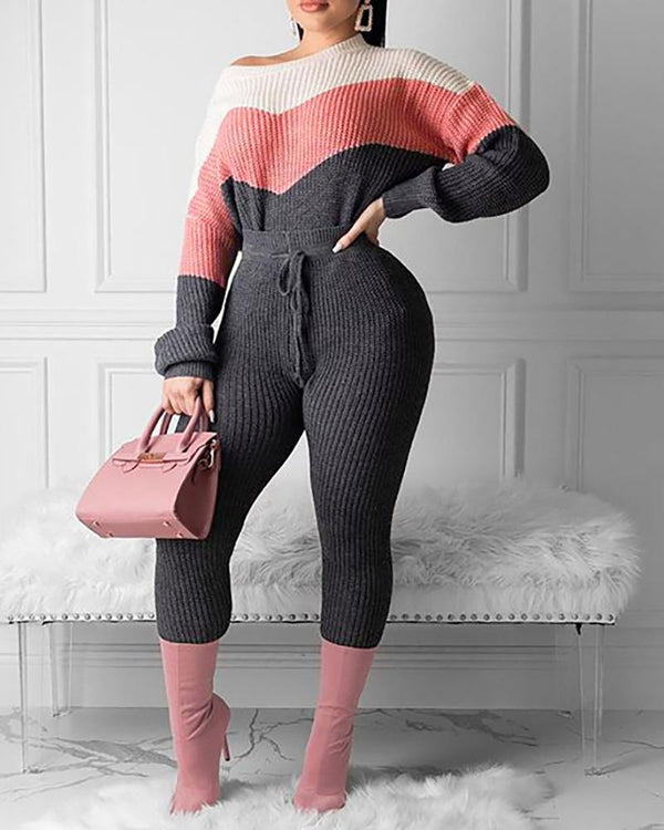 Colorblock Lantern Sleeve Sweater & Drawstring Pants Set