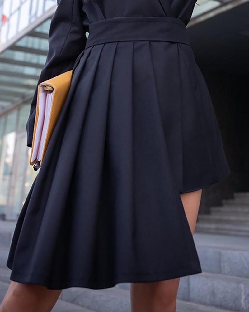 Solid Irregular Hem Pleated Dress