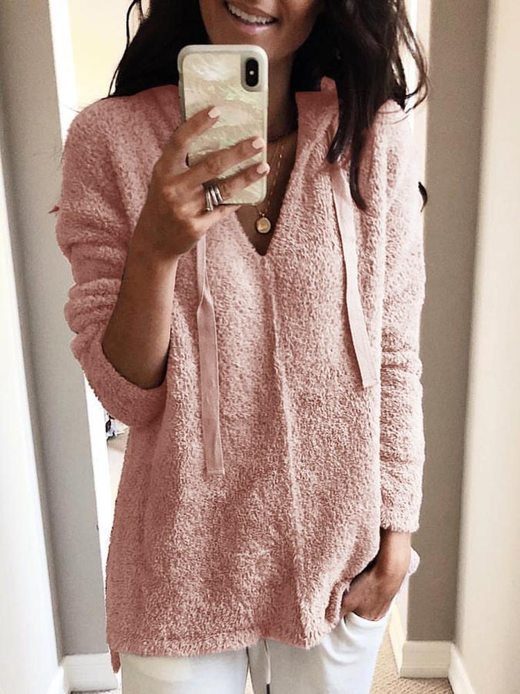 Solid Fluffy Hooded Long Sleeve Sweatshirt