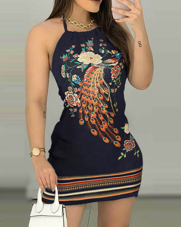 Peacock Floral Print Halter Backless Dress