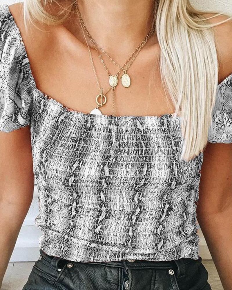 Snake Print Square Neck Top