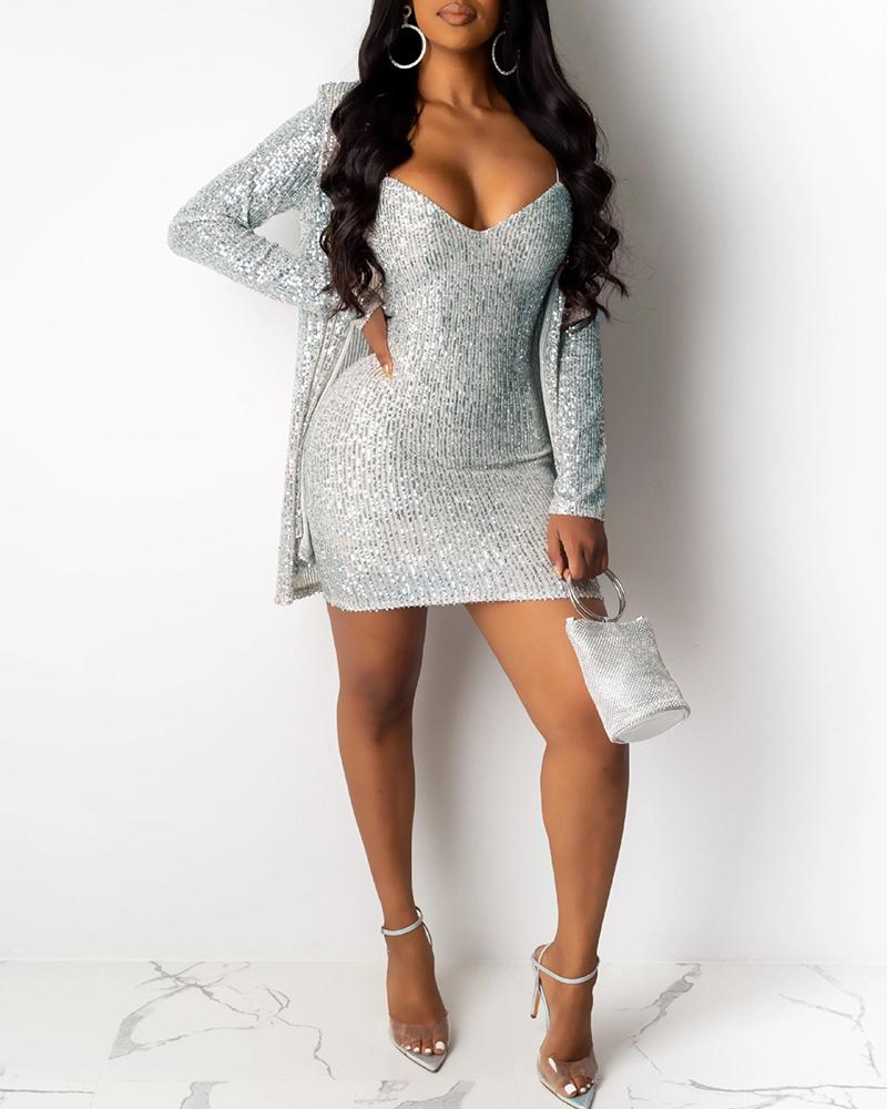 Sequins Spaghetti Strap Dress & Long Sleeve Coat Sets