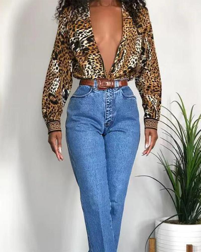 Double Breasted Leopard Print Tunic