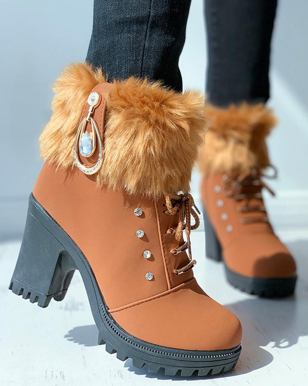 Fluffy Rhinestone Lace-up Chunky Boots