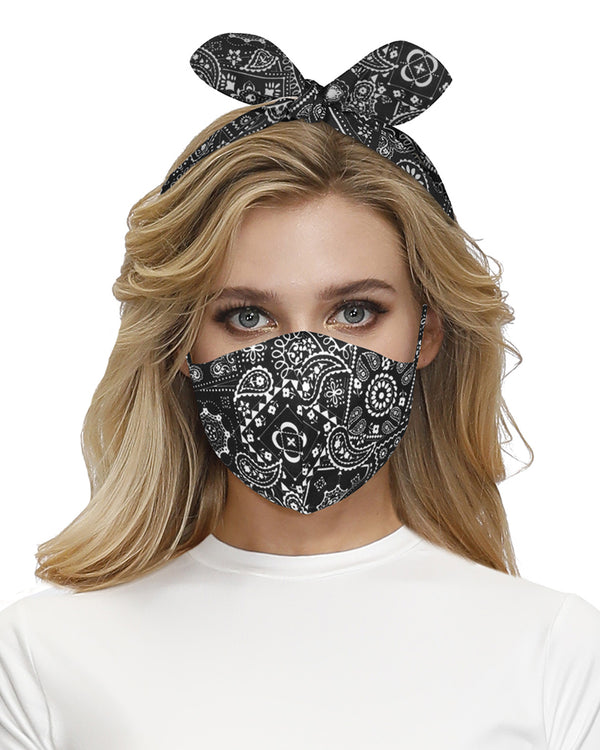 Paisley Print Hairband Breathable Face Mask