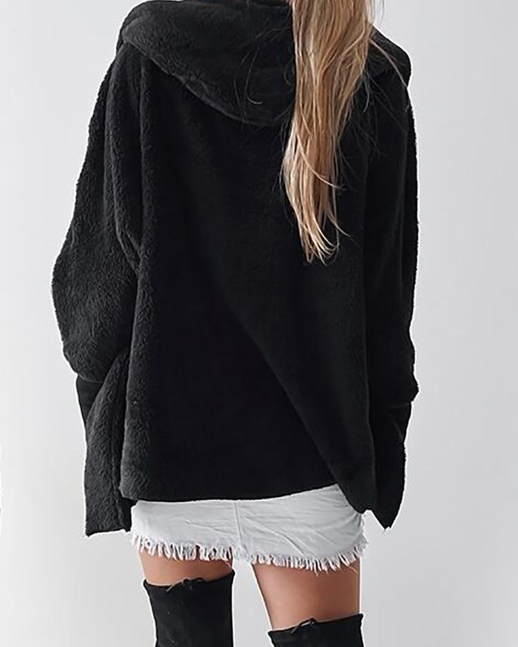 Fluffy Long Sleeve Open Front Hooded Coats