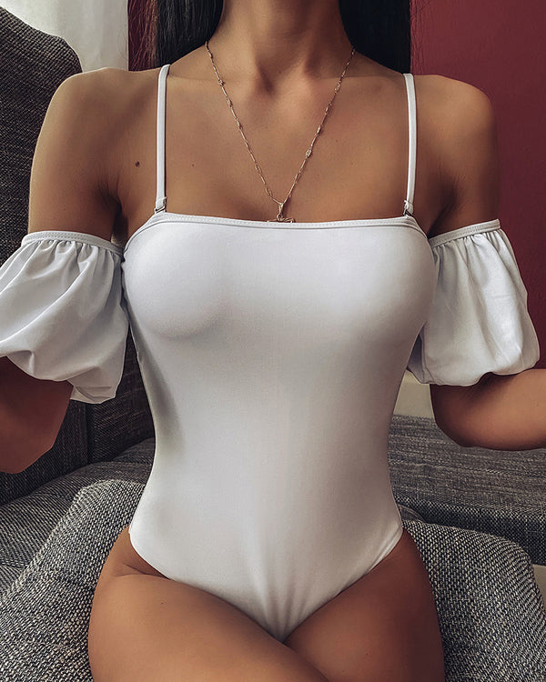 Cold Shoulder Puffed Sleeve One Piece Swimwear