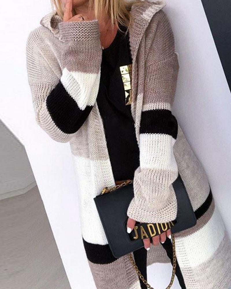 Open Front Patchwork Knit Cardigan