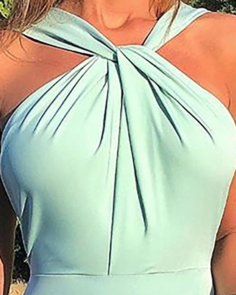 Sleeveless Ruched Twisted Bodycon Dress