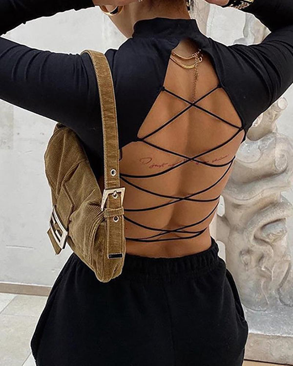 Plain Long Sleeve Lace-up Backless Crop Top